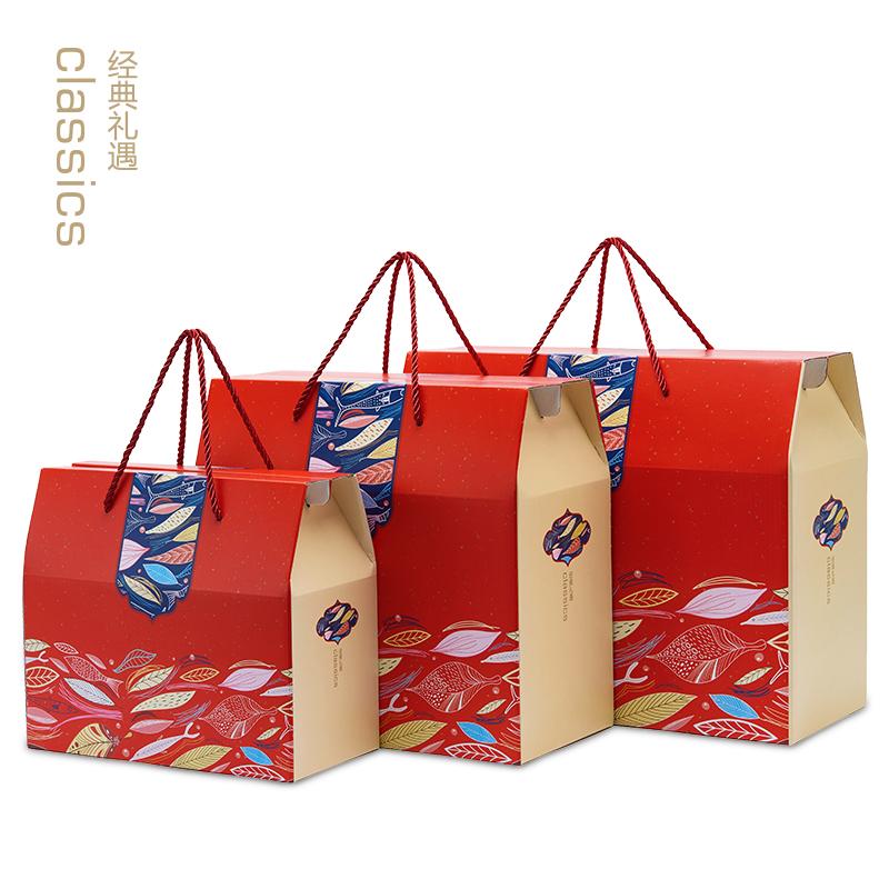 通用特产包装礼品盒食品干货海鲜手提盒喜庆特产干果红枣纸箱盒子