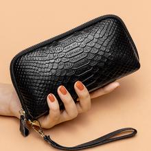 真皮钱bu0女长式2un式气质手拿包鳄鱼纹头层牛皮手机拉链包
