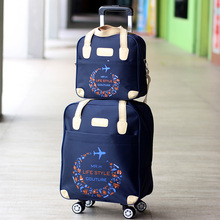 轻便(小)型子母拉杆箱万向轮da9行包箱女ly牛津布行李箱可登机