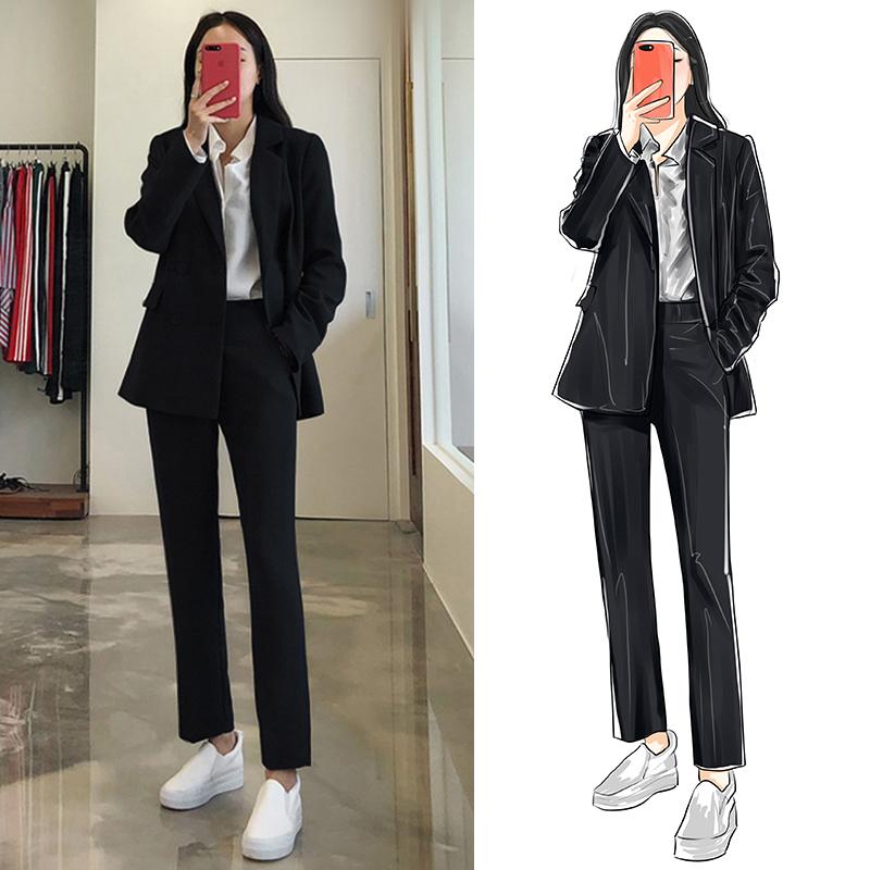2020秋冬新款韩版显瘦双排扣黑色小西装休闲九分裤两件套女西装-正青春-
