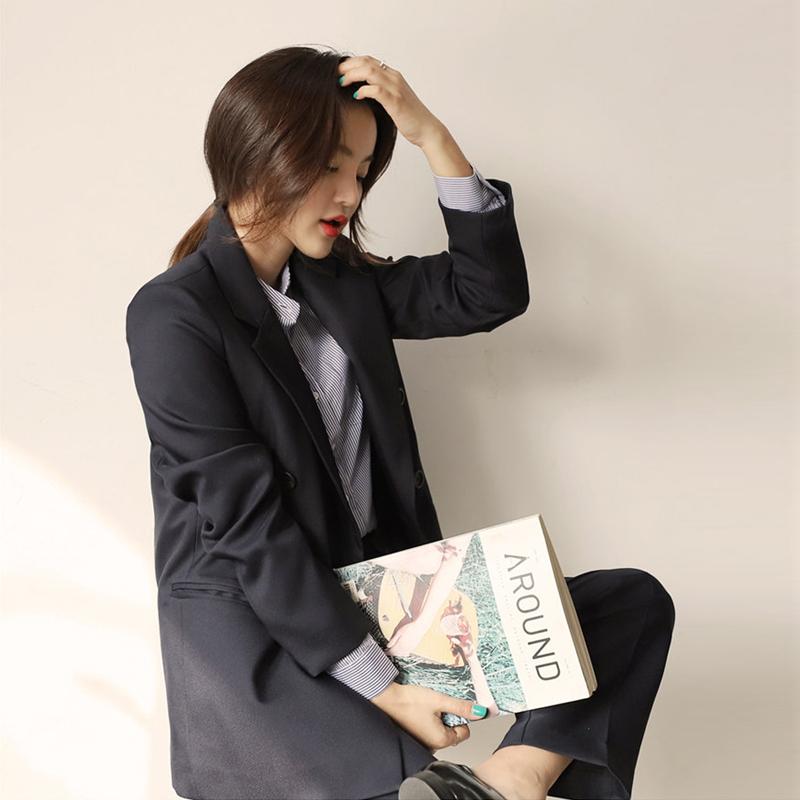 2020秋冬新款韩版女装职业修身气质西装阔脚裤套装休闲西装两件套 -