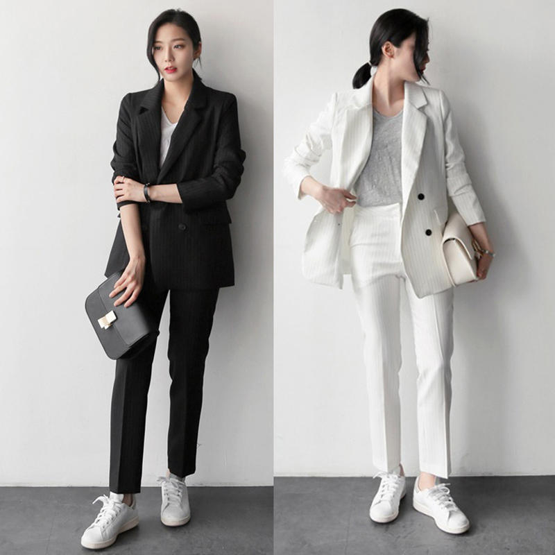 2020年春季新款女韩国东大门百搭竖条纹长袖职业西服西裤 两件套-正青春-