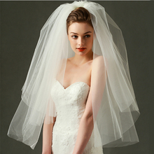 New Korean simple double brides wedding gown veil veil wedding dress accessories jewelry modeling veil