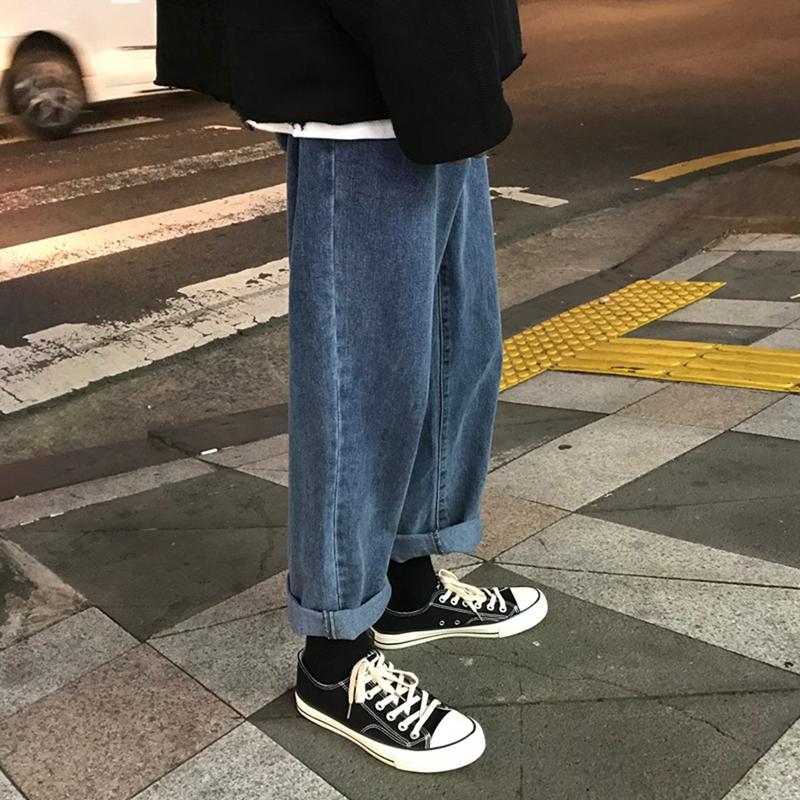 春秋复古牛仔裤男士韩版潮牌港风阔腿直筒九分裤男宽松坠感老爹裤