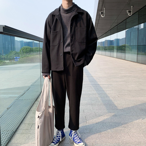 Autumn and winter new ins suit casual two-piece suit ins tide brand 痞 handsome men's trousers loose handsome man suit