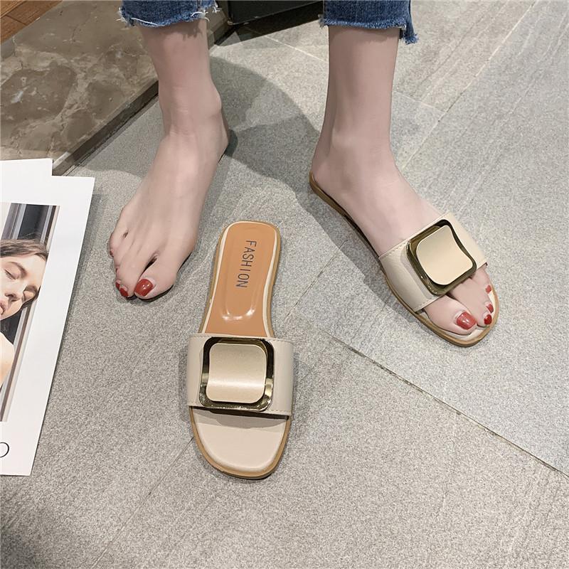 拖鞋女外穿2020新款夏季女士时尚网红百搭外出平底一字可湿水凉拖