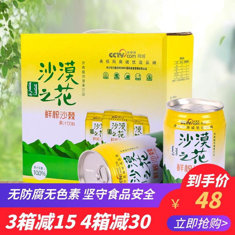 沙漠之花鲜榨沙棘汁310ml*6罐装整箱 内蒙古特产野山沙棘果汁饮料