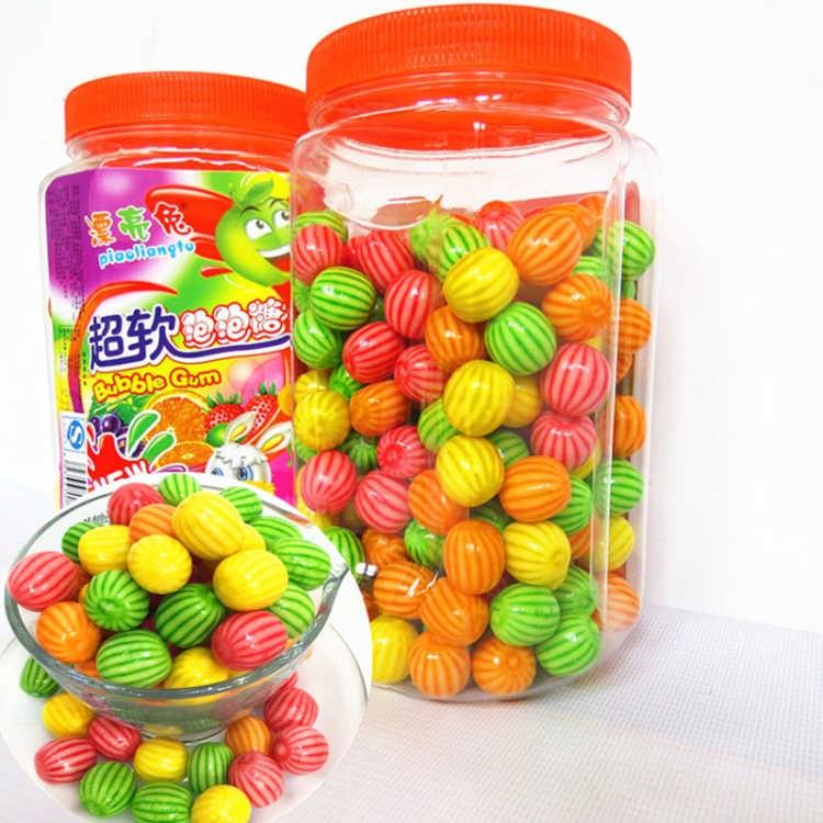 空心夹心西瓜泡泡糖约185颗桶装爆浆口香糖果怀旧零食6-30条