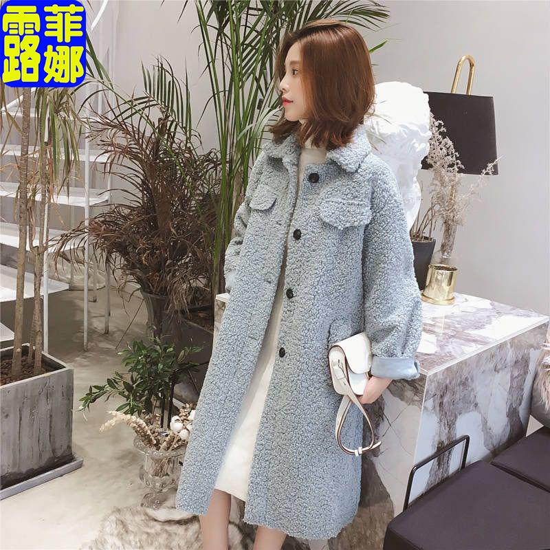2019冬季新款韩版中长款过膝毛绒加厚仿羊羔毛大衣女显瘦宽松外套