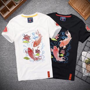 春夏中国风男装故宫刺绣短袖T恤鲤鱼 民族半袖圆领体恤男上衣潮流