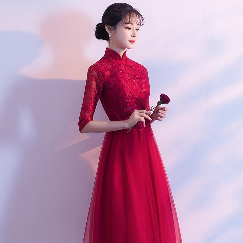 新娘敬酒服2018新款秋季红色中长款订婚结婚宴会晚礼服女显瘦回门