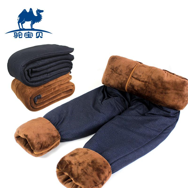 三层加肥加厚加绒加大驼绒保暖裤男女羊毛裤中老年人棉裤绒裤毛裤