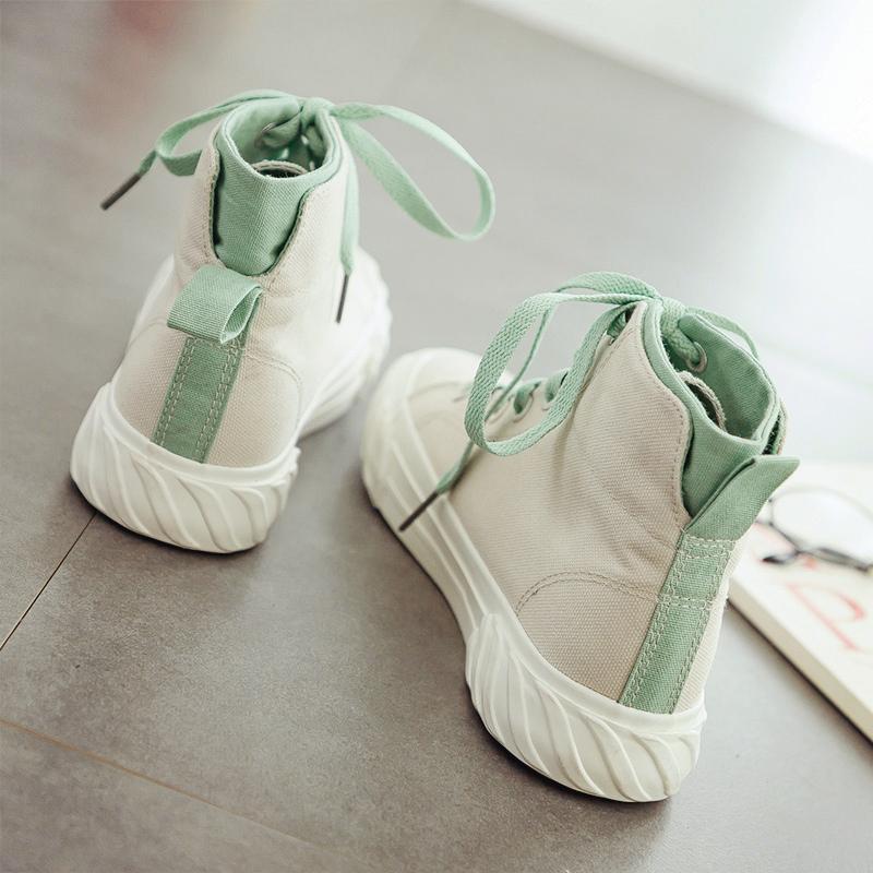 高帮帆布鞋女2020春季新款潮鞋ulzzang韩版百搭学生板鞋平底单鞋