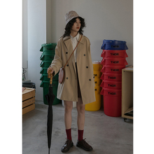 卡农自制 时尚风衣女韩款20tu111春装le双排扣长袖短式外套