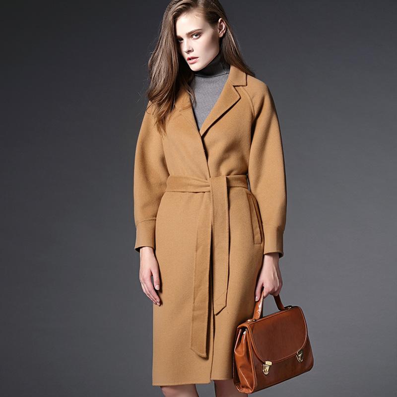 秋冬新款韩版翻领羊毛呢大衣羊绒呢子女装女式