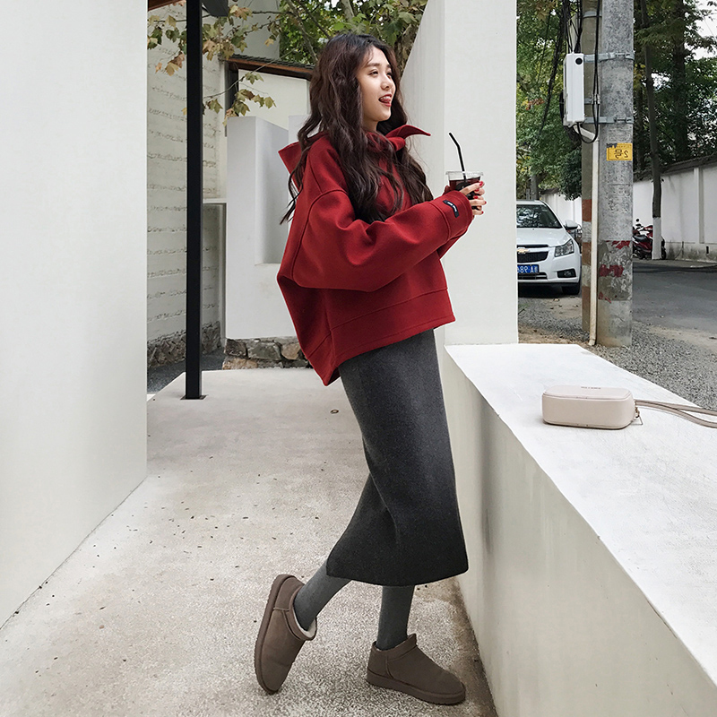 2019秋冬新款慵懒风网红卫衣外套半身裙包臀裙两件套长款裙子套装