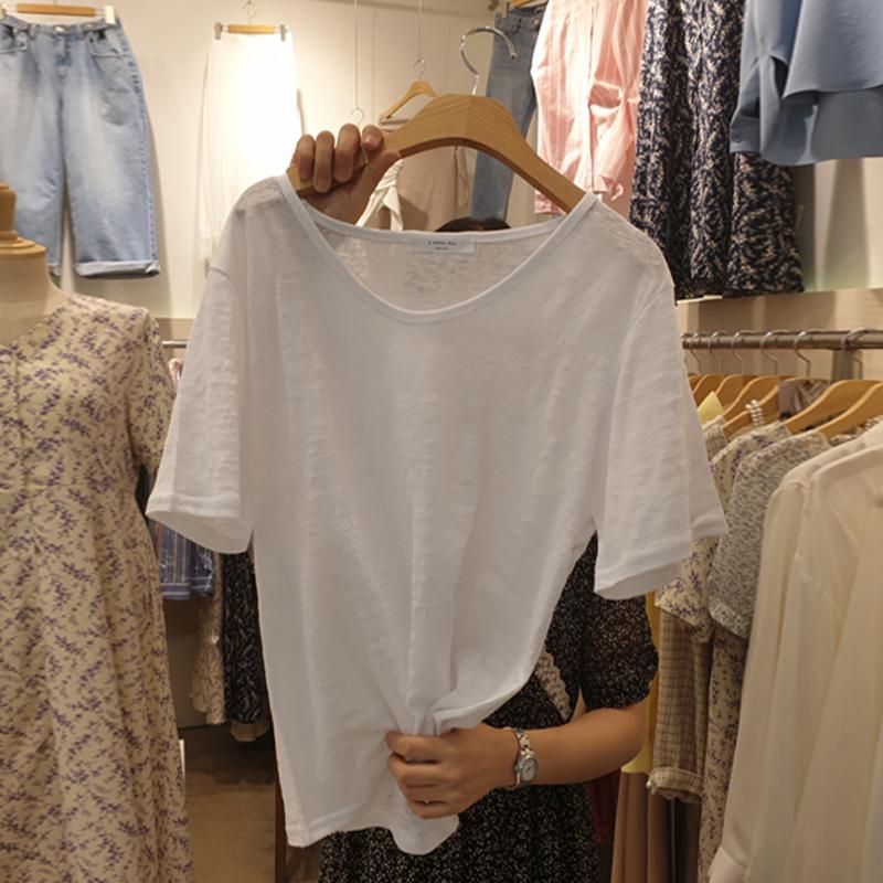 夏季新款潮宽松韩版纯棉竹节棉白色短袖t恤V领超火cec白色上衣服
