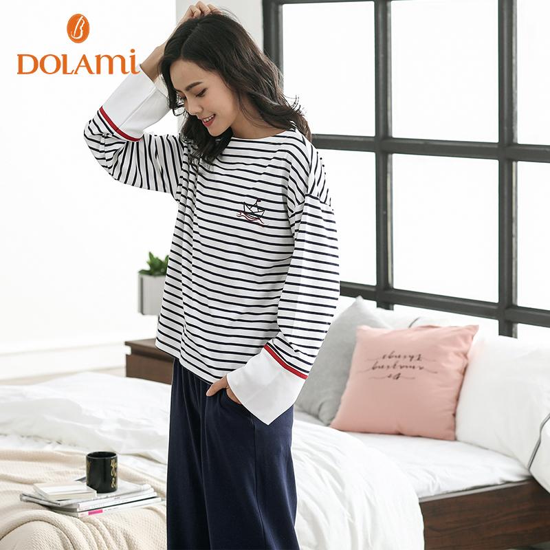 多拉美秋季女士睡衣休闲时尚显瘦一字领可外穿条纹长袖家居服套装
