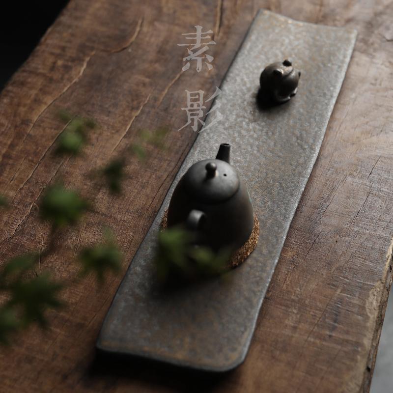 素影 复古手工干泡台陶瓷茶台壶托鎏金托盘单层茶盘茶道杯架配件