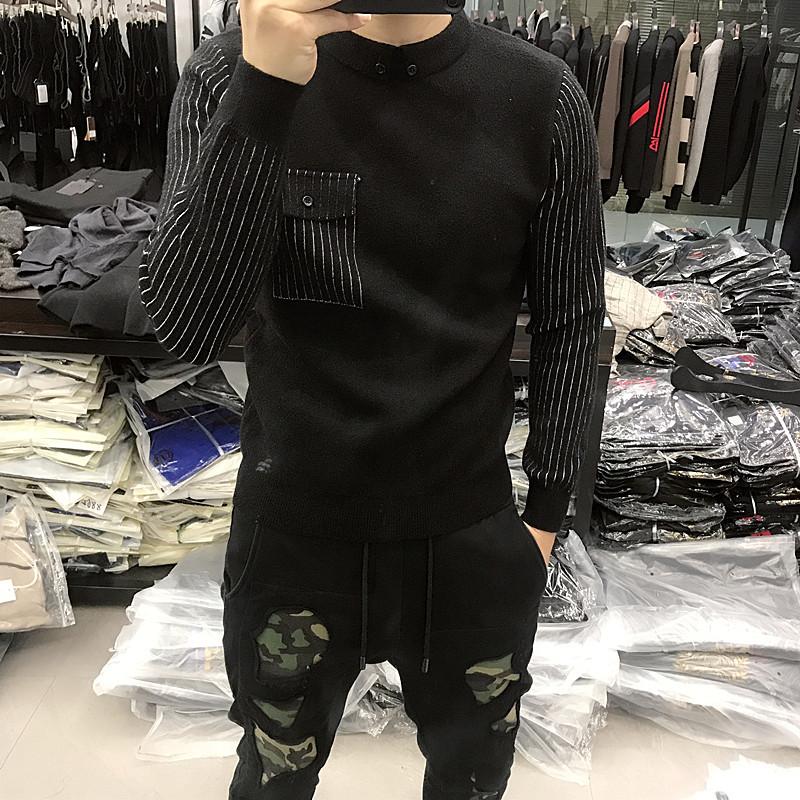 新款男士秋冬毛衣男韩版潮流拼接修身男装针织长袖假两件套衬衫领