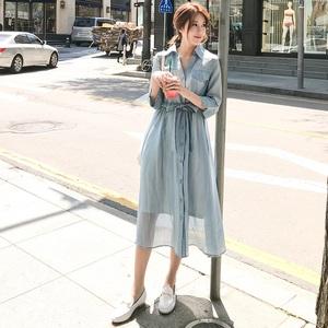 法式桔梗連衣裙2019新款夏收腰顯瘦氣質超仙甜美森系仙女智熏裙子