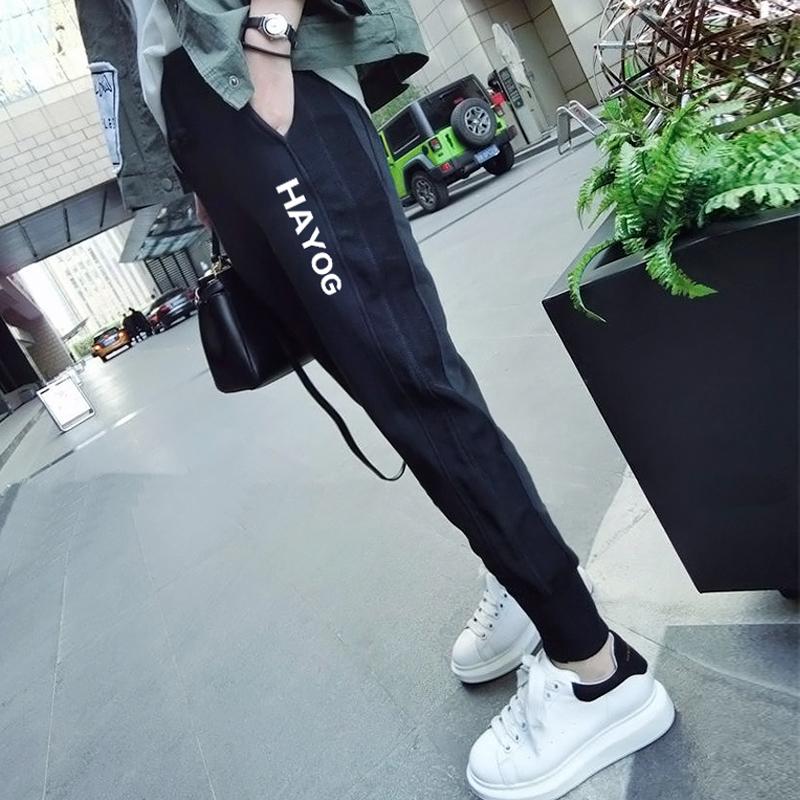 黑色休闲运动裤女裤子2019秋冬宽松哈伦裤加绒加厚外穿百搭ins潮