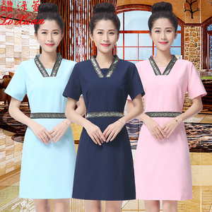New health beauty salon dress waiter uniform sauna pedicure foot bath technician uniform was thin overalls female
