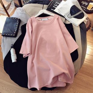 中长款短袖t恤裙纯色半截袖纯棉宽松大码女装连衣裙显瘦上衣ins潮图片