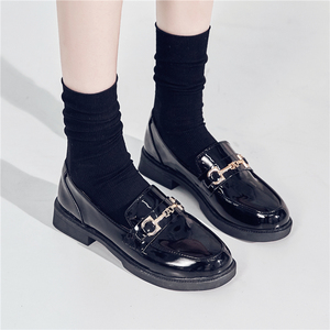 Small leather shoes women's British style women's shoes 2019 new winter plus velvet foreign style soft leather flat shoes women autumn and winter wild