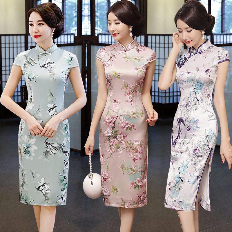 中年女妈妈夏季大码祺袍裙女中长款旗袍连衣裙改良版胖中国风优雅