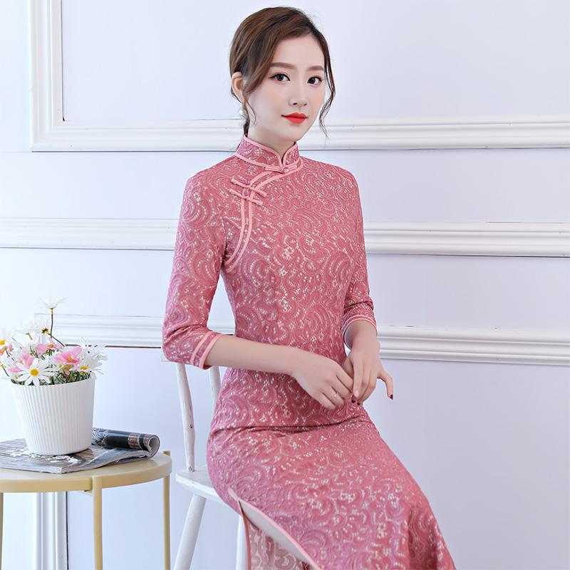 大码年轻款气质旗袍长款优雅女春秋走秀演出祺袍长袖蕾丝中袖粉色