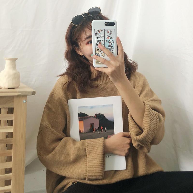 秋冬季韩版chic新款纯色针织衫毛衣女上衣服宽松慵懒风学生打底衫