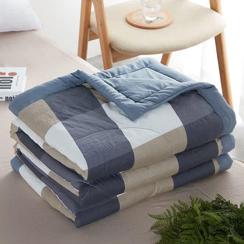 素品棉麻文被子四季通用日式水洗棉夏被空调被夏凉被可机洗学生单