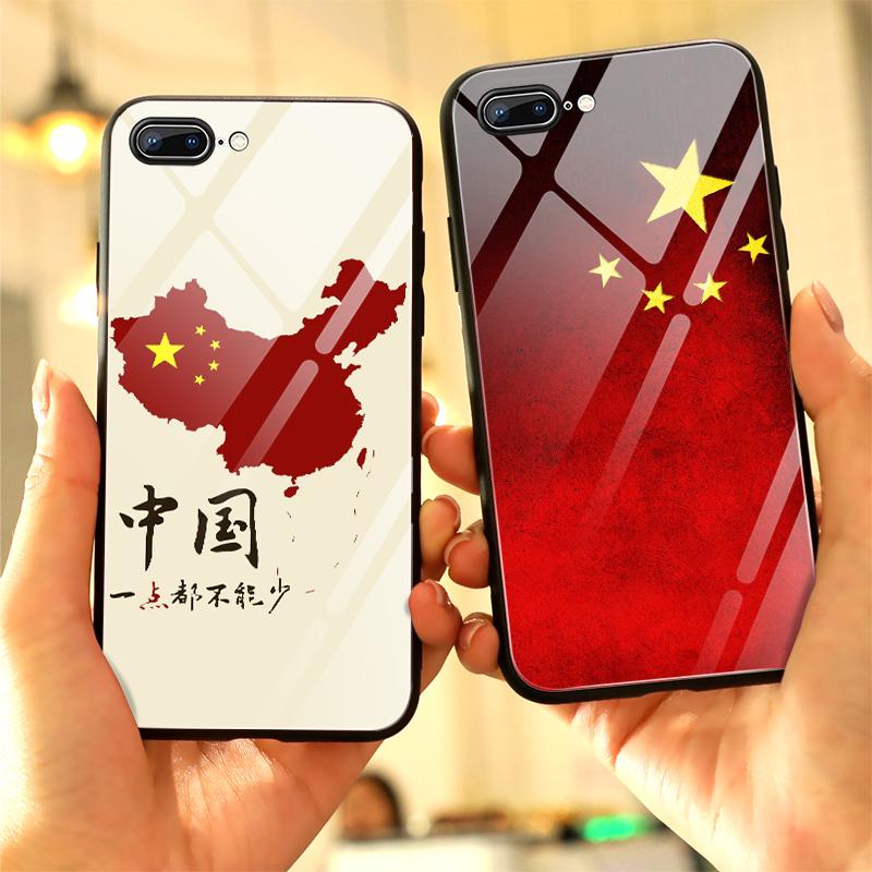 红旗手机壳苹果8plus玻璃iphone7个性镜面7plus国潮6s中国风6plus军魂i8炫酷8x创意潮牌软全包五星红旗保护套