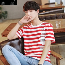 Striped t-shirts for men young gentleman British boy short sleeve Marvel