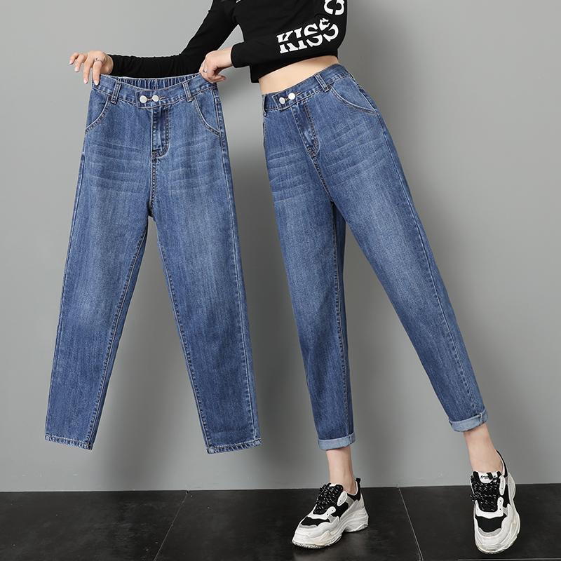 牛仔裤女老爹裤宽松秋季新款2019韩版显瘦松紧高腰九分哈伦萝卜裤