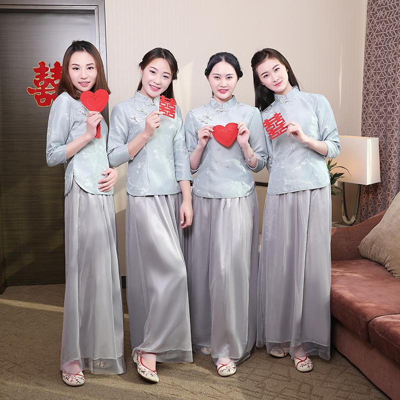 2019灰色复古民国风中式伴娘服闺蜜团纱裙礼服舞台姐妹表演出服装
