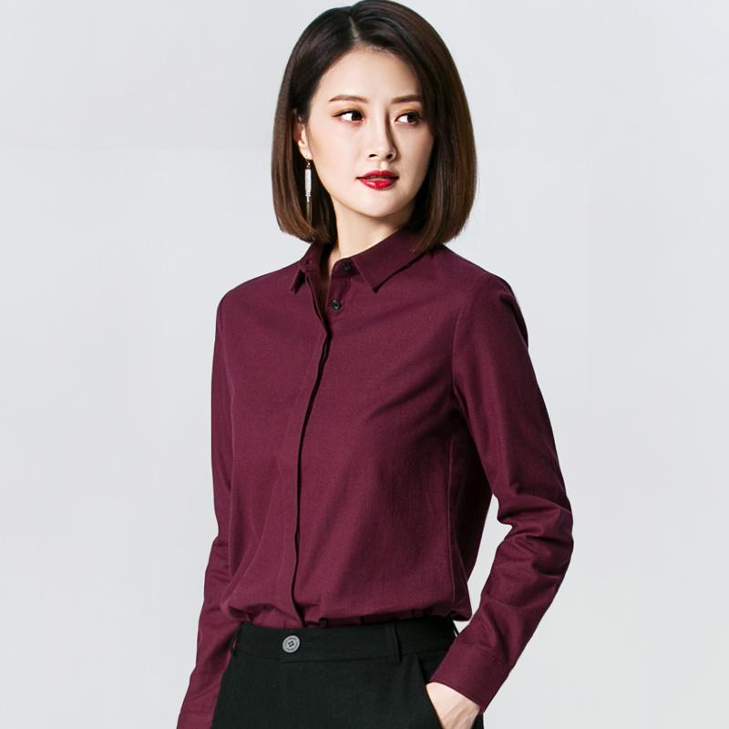 枣红色磨毛衬衫女长袖2020春季新款宽松衬衣时尚女士秋冬打底上衣