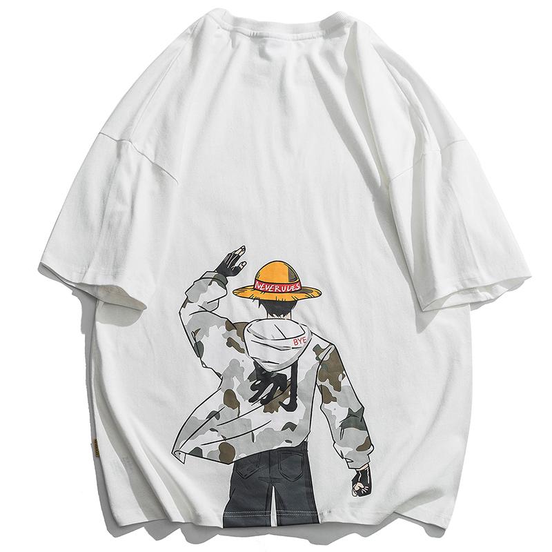 二十八间夏季圆领日系个性卡通动漫印花T恤五分短袖男士宽松体恤