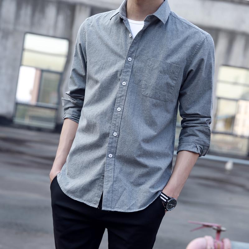 2020夏季薄款衬衫男长袖韩版潮流帅气休闲牛仔短袖衬衣男士外套寸