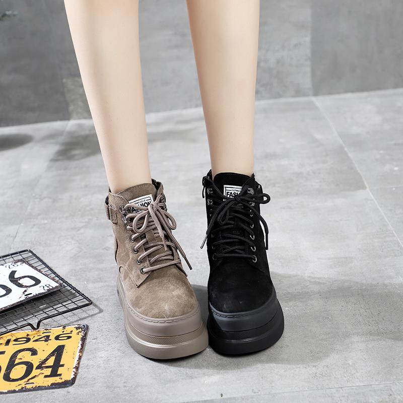 纯皮磨砂皮欧洲站新款系带厚底松糕坡跟马丁靴机车靴短筒靴百搭女