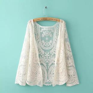 蕾丝开衫外搭防晒衣女夏季薄款披肩上衣钩花镂空罩衫长袖空调衫棉图片