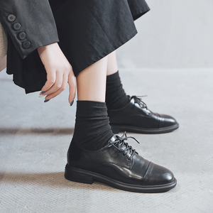 Black small leather shoes women 2019 autumn new Brock women's shoes lace up thick retro shoes low heel autumn shoes
