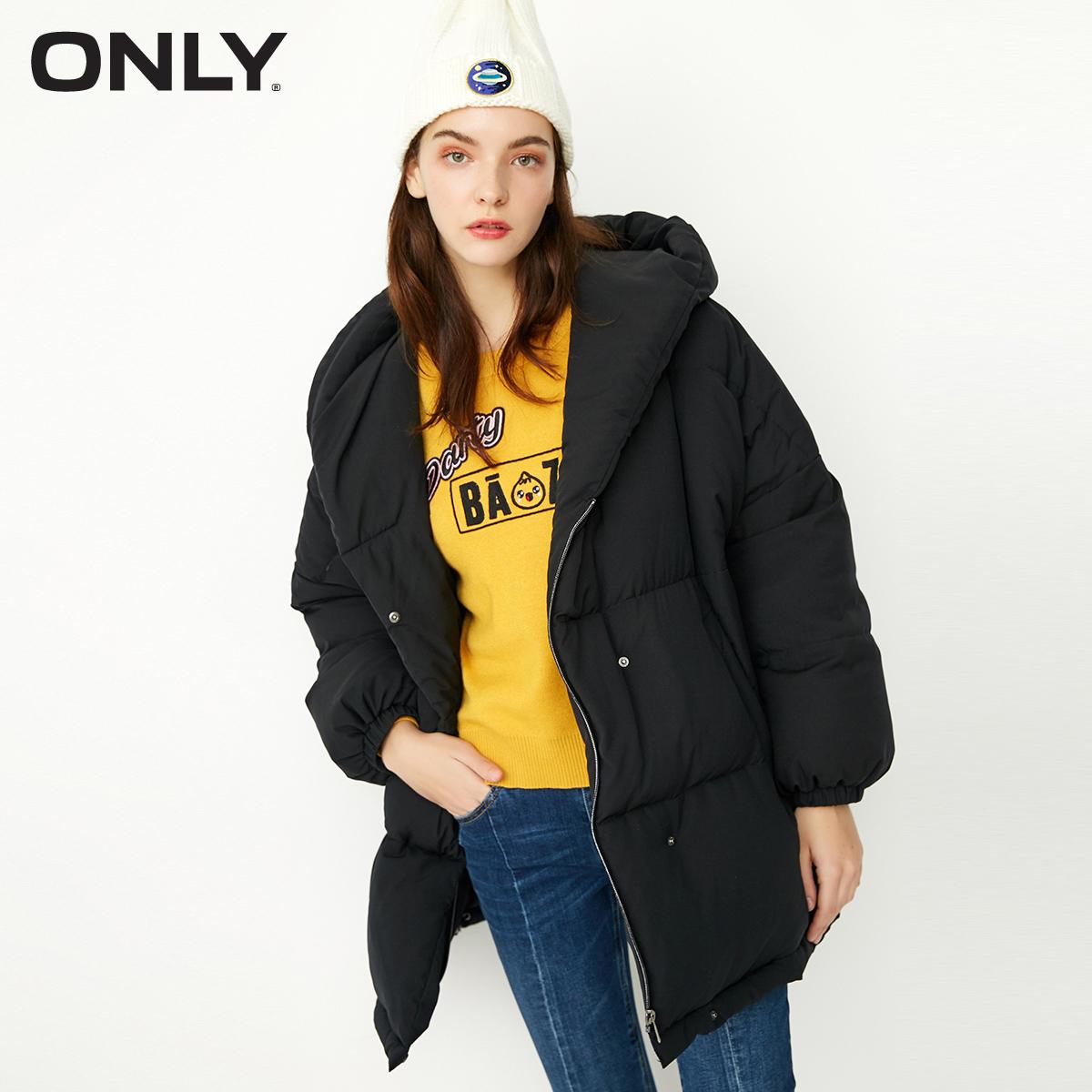 ONLY2017冬季长款宽松纯色连帽羽绒服女|117312563