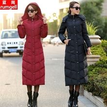 反季新式加长式羽绒rr6女超长过gg码外套时尚修身白鸭绒冬装