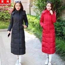 反季特卖冬装新款超长款羽ta9服女长过y2码修身中长收腰外套