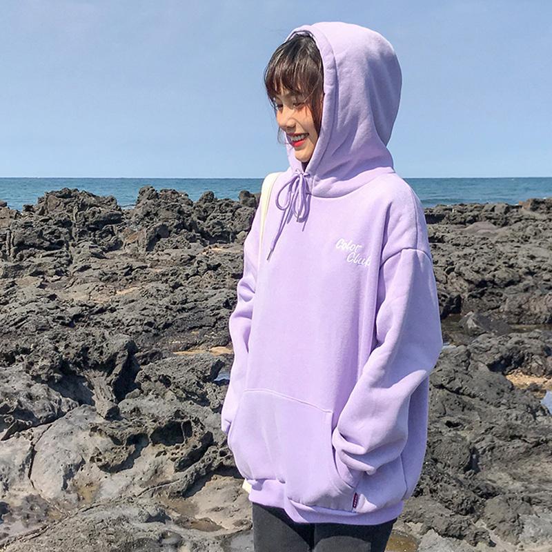 百思朵韩版薄款淡紫色香芋紫色连帽卫衣女字母百搭宽松学生外套春