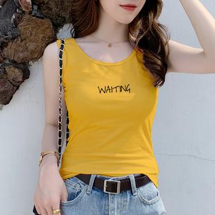 吊带背心女外穿潮运动外穿纯棉工字黄色无袖上衣女打底衫内搭夏季图片