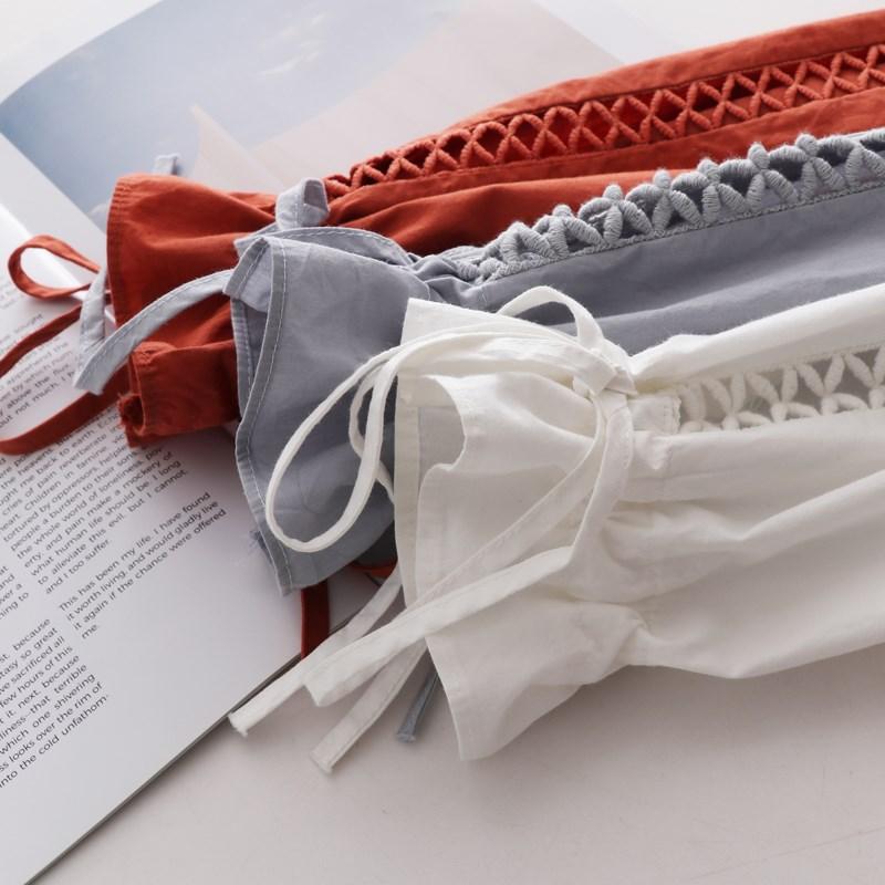 2018春新款韩版灯笼袖镂空白衬衫女长袖休闲宽松学生纯棉打底衬衣