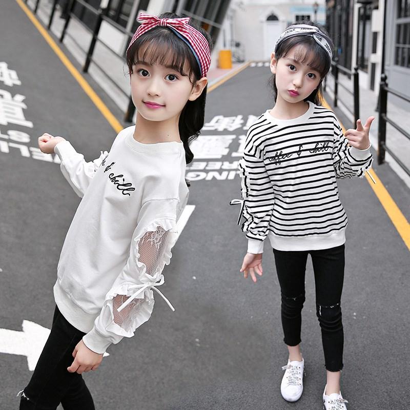 女童T恤2019秋装新款大童长袖百搭外穿秋衣儿童8洋气12打底衫15岁